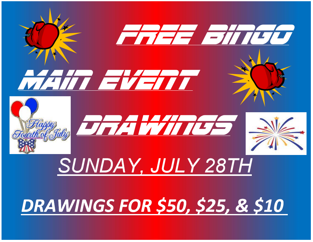 FREE BINGO MAIN EVENT DRAWINGS